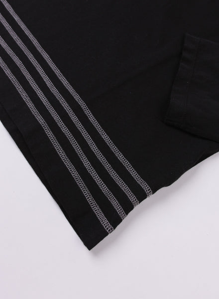 Box Longsleeve Black Embroidered Stripes