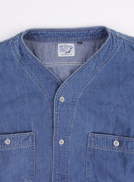 No Collar Work Shirt Denim Used