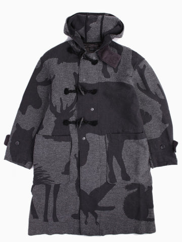 Duffle Coat Animal Wool Jacquard