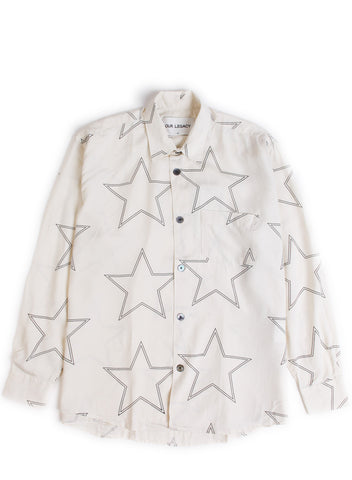 Initial Shirt White Silk Star