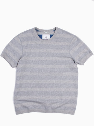 Striped Terry Short Sleeve Reversible Crewneck Heather Grey/Court Blue