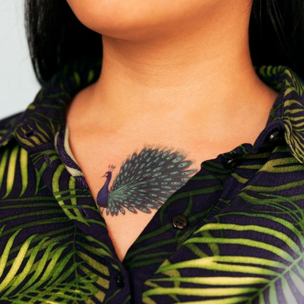 Tattly Blue Peacock Temporary Tattoos