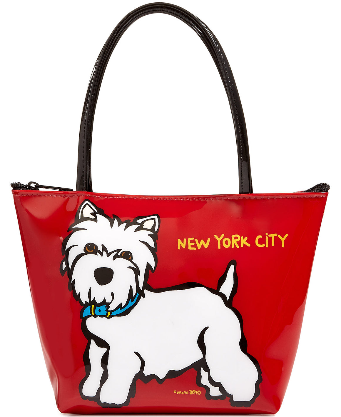 Marc Tetro NYC Westie Zipper Tote Small Red Bag