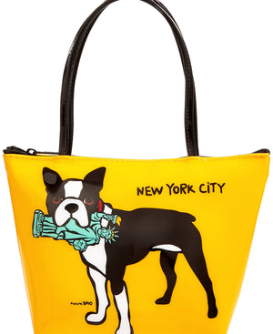 Marc Tetro NYC Boston Terrier Statue of Liberty Zipper Tote Small Yellow Bag