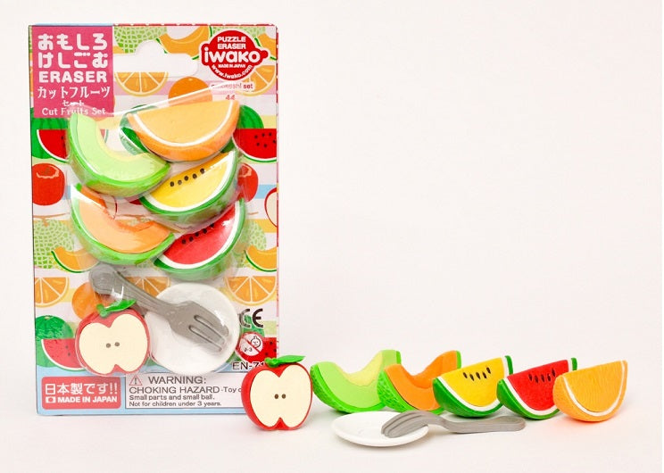 Sliced melons and apple Carded Eraser Set