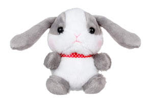 Plush White / Gray Bunny Plush Keychain