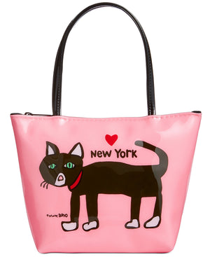 Marc Tetro NYC Cat Zipper Tote Small pink bag
