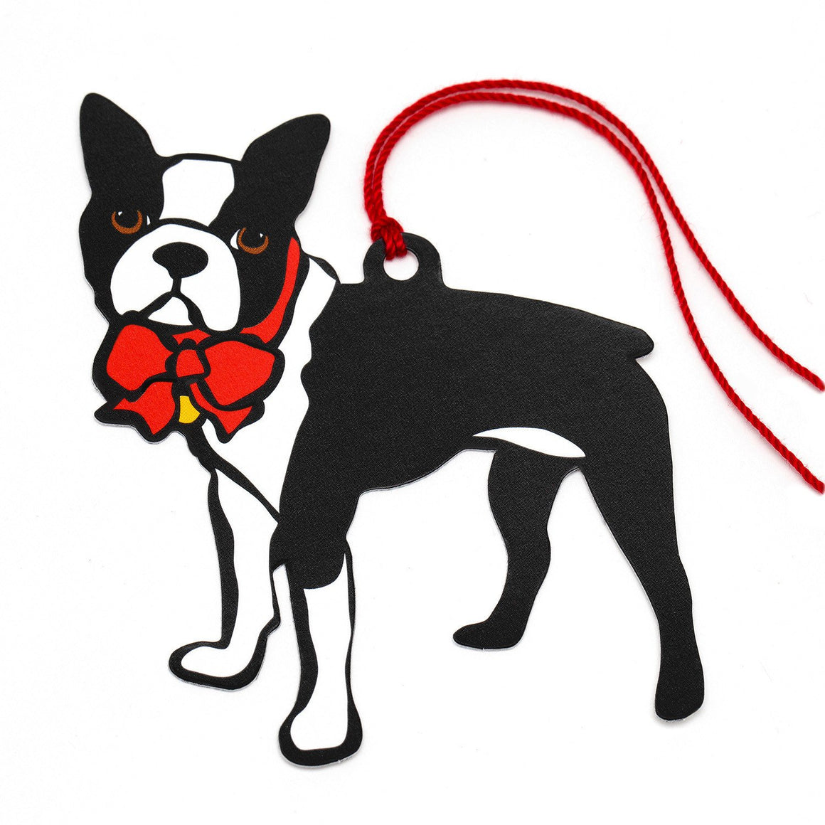 Marc Tetro Boston Terrier Holiday Red Bow Gift Tags