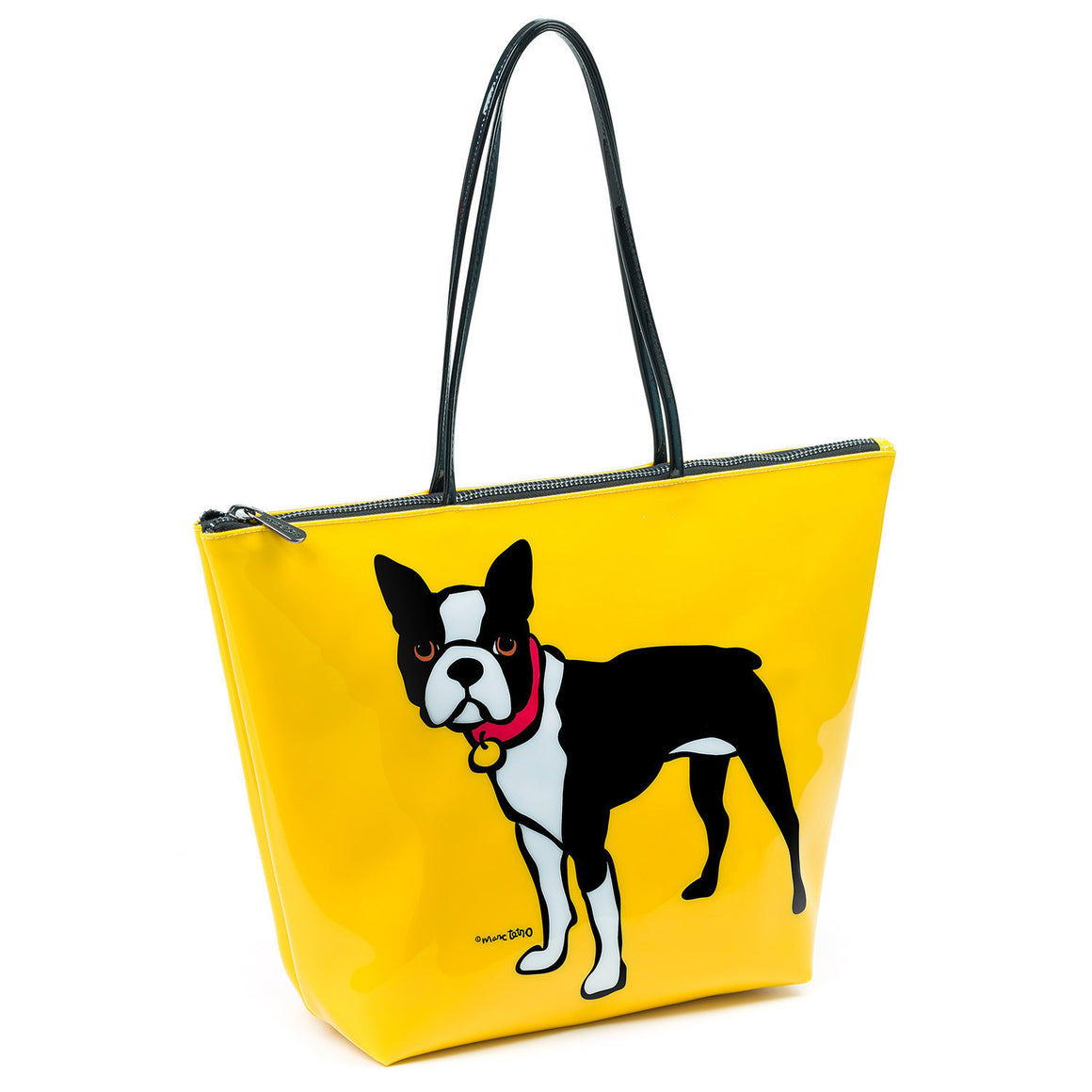 Marc Tetro Boston Terrier Tote Bag Yellow Front