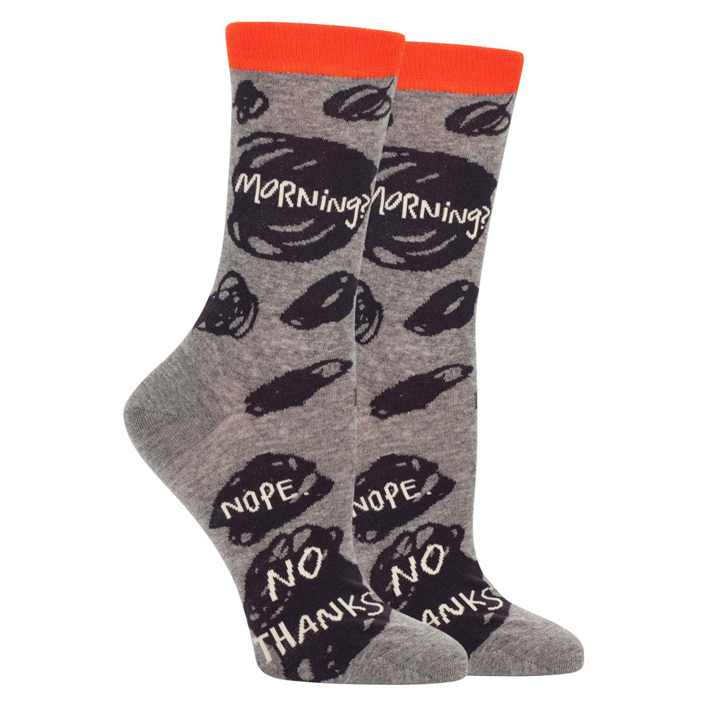 Morning? Nope, No Thanks Crew Socks  by Blue Q
