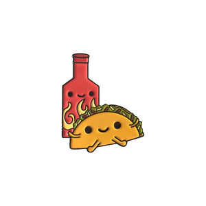 Bored  Inc. Taco & Hot Sauce Bottle Enamel Pin Ltd Edition