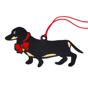 Marc Tetro Dachshund Holiday Red Bow Gift Tags