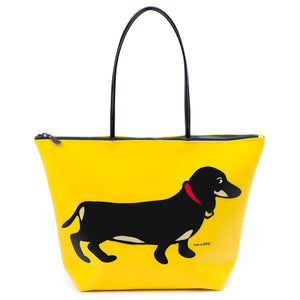 Marc Tetro Dachshund Tote Bag  Yellow Front