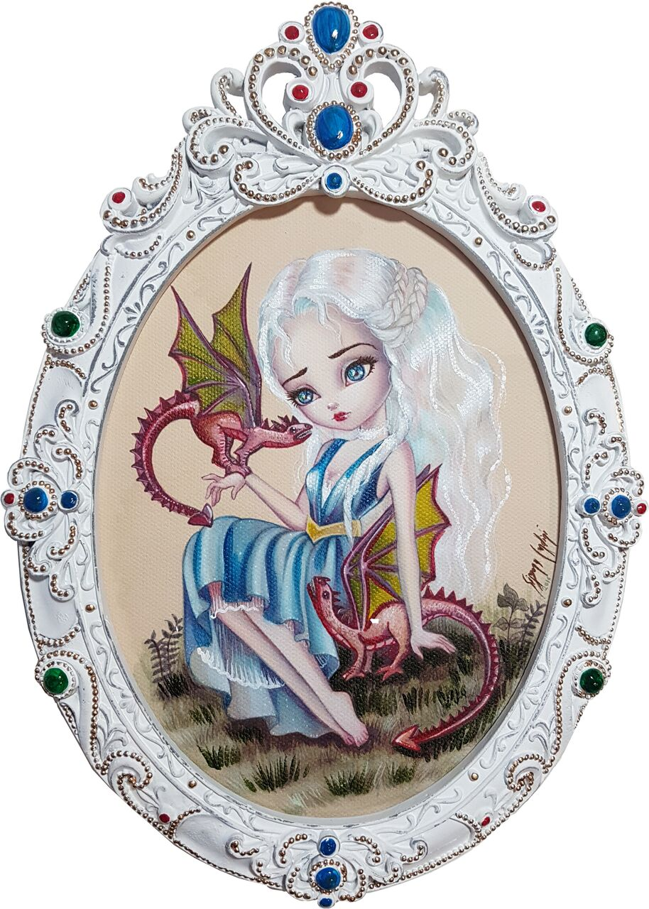Simona Candini HBO Game of Thrones Daenerys Framed Canvas Print