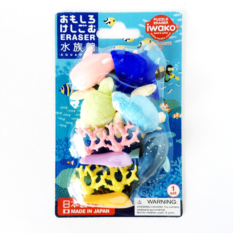 Iwako Aquarium Carded Eraser Set coral fish