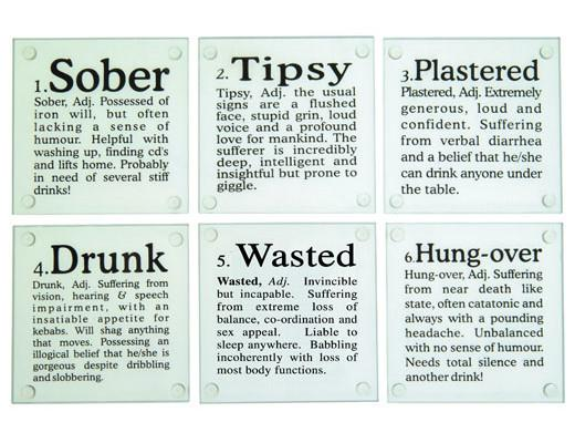 Drunk Words Glass Drink Coasters