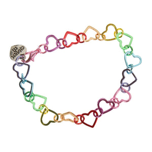 Rainbow Heart Link Bracelet  by High Intencity