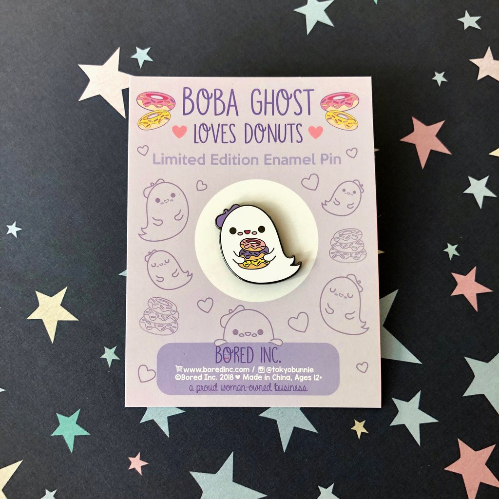 Bored Inc. Boba Ghost Loves Donuts Enamel Pin - PIQ