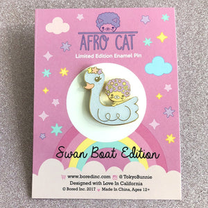 Bored Inc Afro Cat Swan Boat Enamel Pin