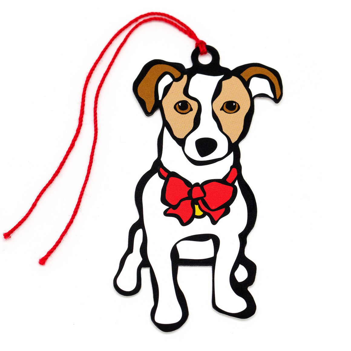 Marc Tetro Jack Russell Terrier Holiday Red Bow Gift Tags