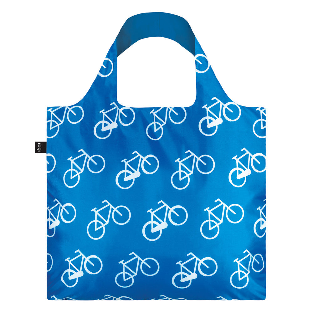 LOQI Bicycle Tote Bag Blue and White