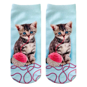 Kitten And Yarn Ankle Socks  by Living Royal