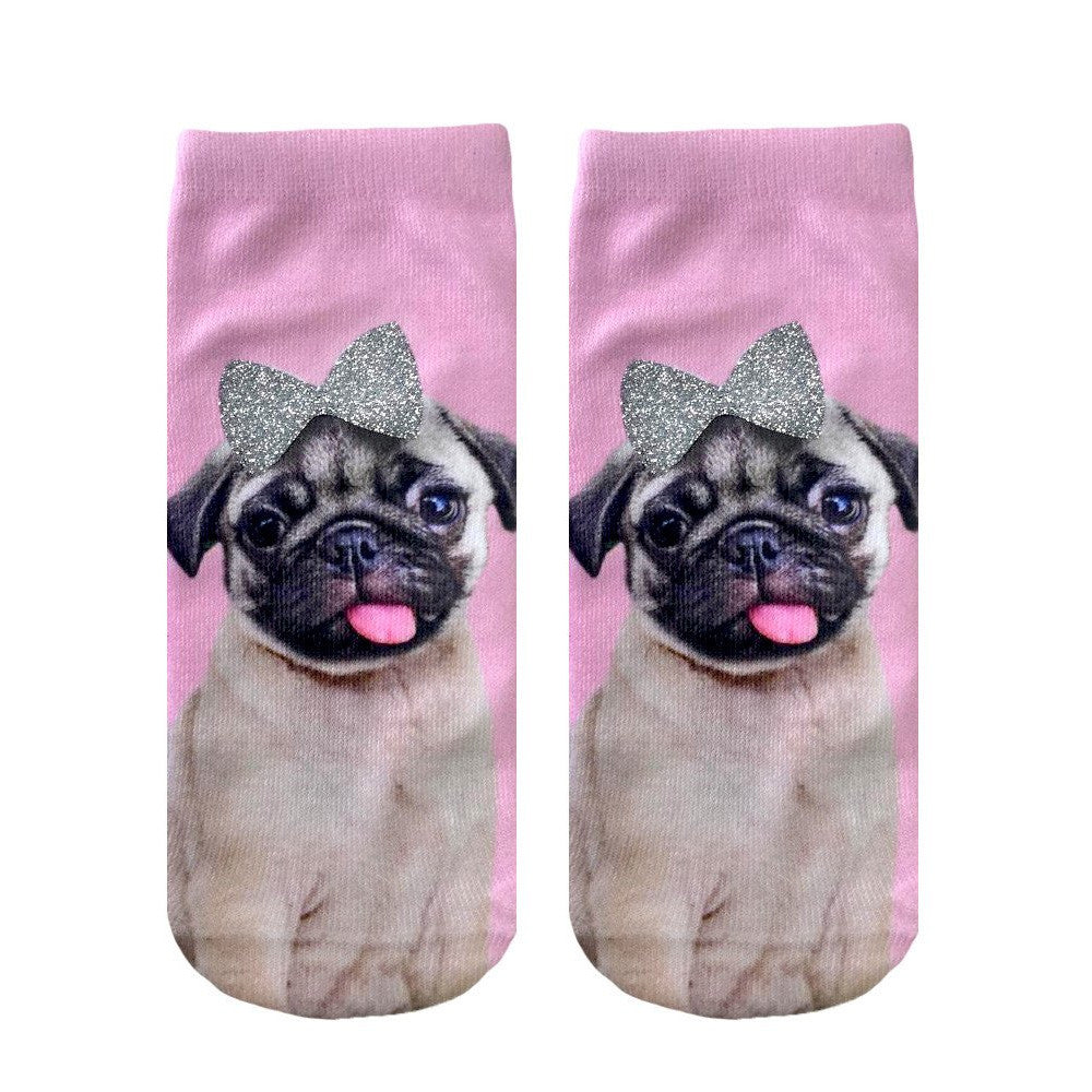 Pug With Bow Ankle Socks  by Living Royal
