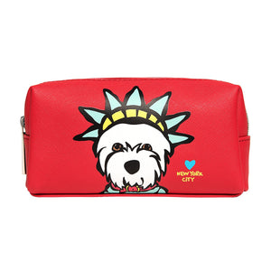 Marc Tetro Westie Liberty Statue Small Cosmetic Case