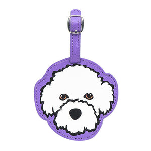 Marc Tetro Bichon Frise Luggage Tag- Purple