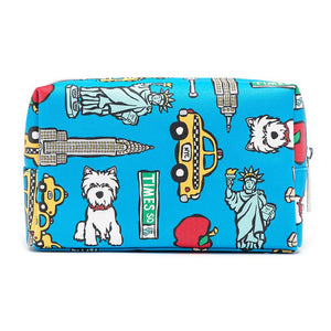 Marc Tetro Blue NYC Westie Cosmetic Bag Large Times Square