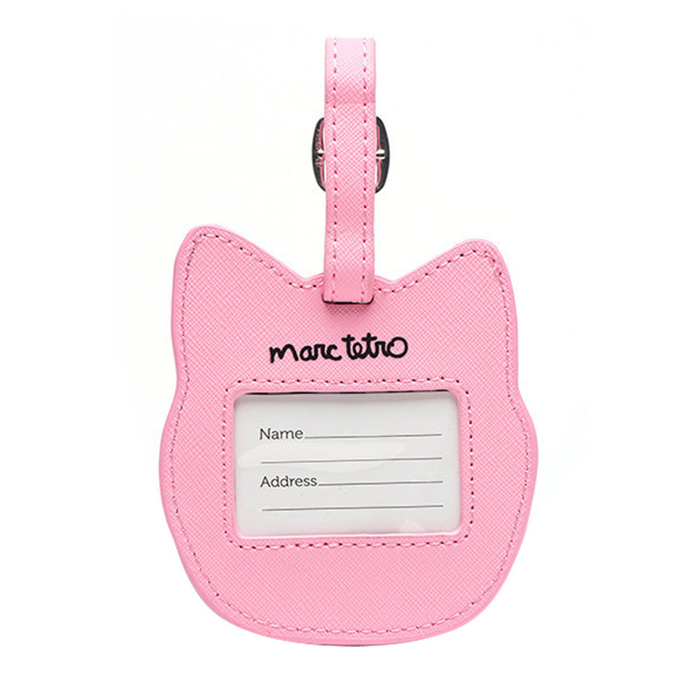 Marc Tetro Cat Luggage Tag- Pink