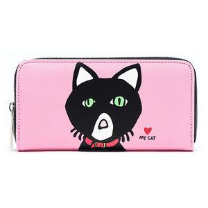 Marc Tetro Cat  Zipper Wallet Large Pink Front