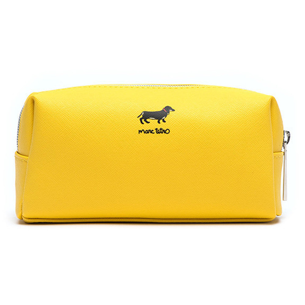 Marc Tetro NYC Dachshund Yellow Cosmetic Case Small