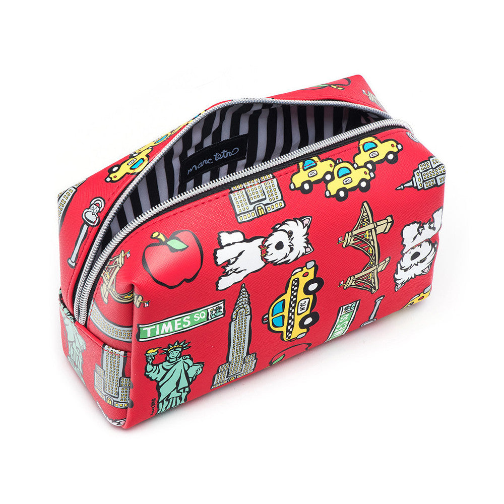 Marc Tetro NYC  Red Cosmetic Case Large Westie