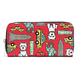 Marc Tetro NYC Zip Wallet Large Red Westie Pattern Front