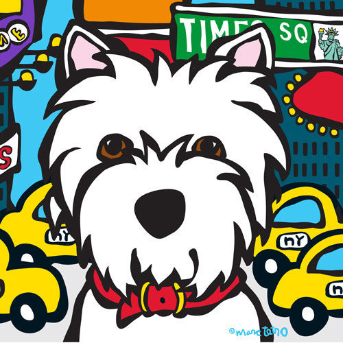 Marc Tetro NYC Westie in Times SQ 8x10 Paper by Marc Tetro