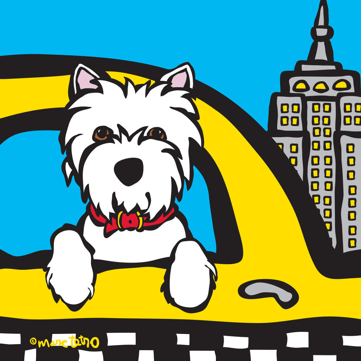 Marc Tetro NYC Westie in Taxi 8x10 Paper by Marc Tetro