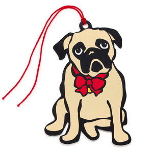 Marc Tetro Pug Holiday Red Bow Gift Tags