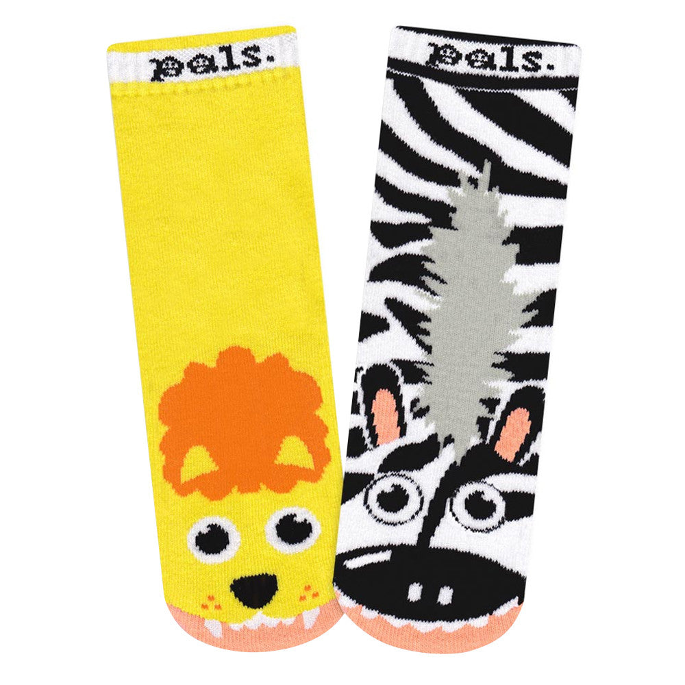 Lion & Zebra Kids Socks  by Pal Socks