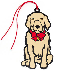 Marc Tetro Golden Retriever Holiday Red Bow Gift Tags