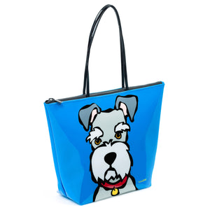 Marc Tetro Schnauzer Blue Zipper Tote Bag