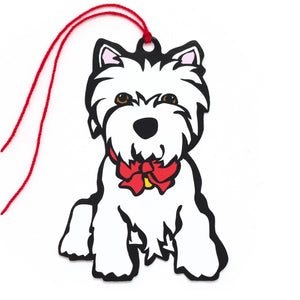 Marc Tetro Westie Holiday Red Bow Gift Tags