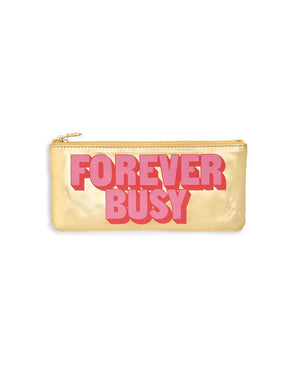 Gold Pink Pencil Pouch - Forever Busy by Ban.do