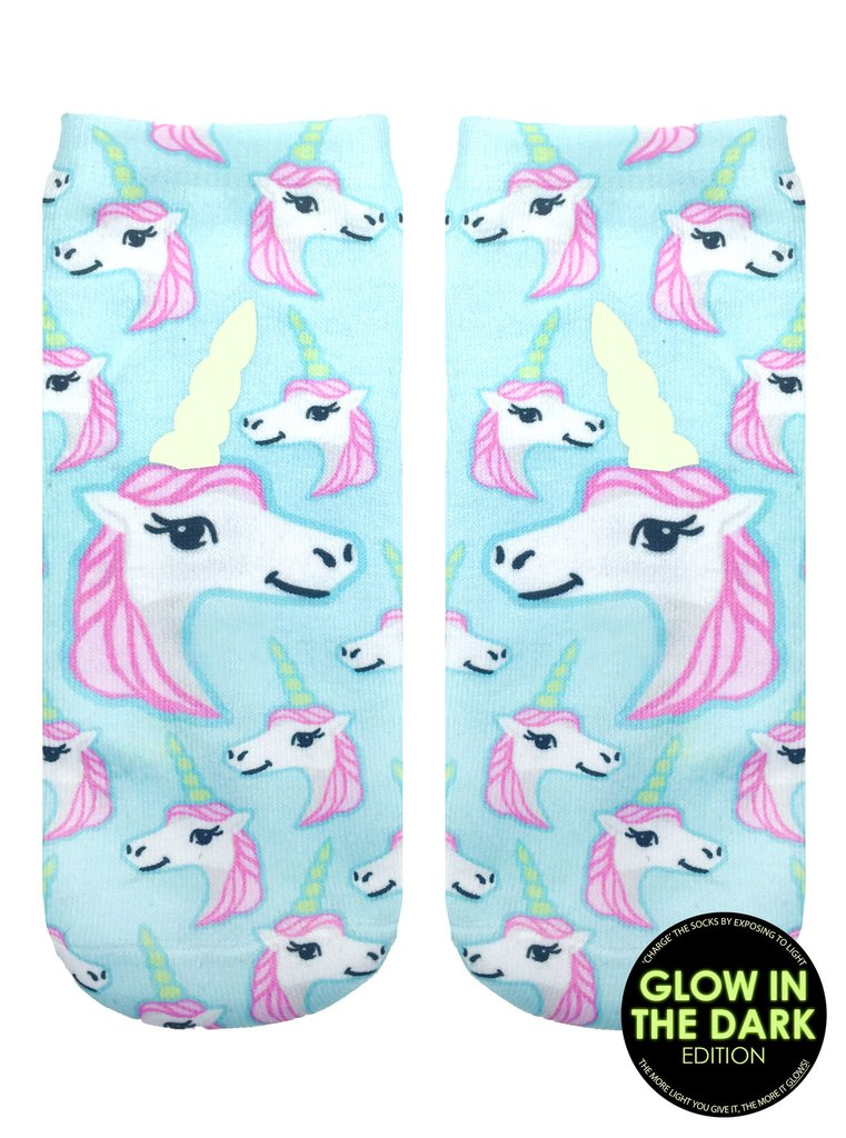 Pastel Unicorn GID Ankle Socks by Living Royal