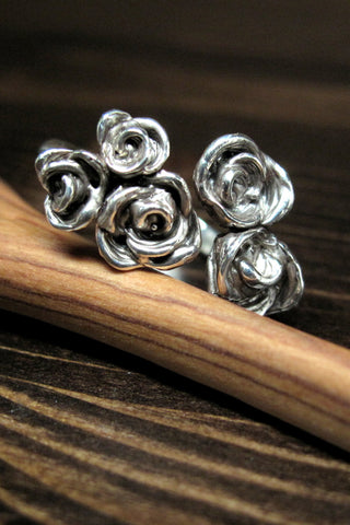 Harlequin&Lionhead handmade Adjustable Rose ring in sterling silver