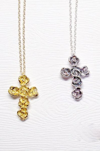 Harlequin&Lionhead handmade Rose Cross necklace in sterling silver, or gold plated