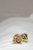Harlequin&Lionhead handmade Rose solitaire stud earrings in gold/brass