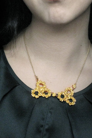 Harlequin&Lionhead handmade statement Rose Bib Collar necklace gold plated