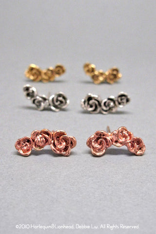 Harlequin&Lionhead handmade Rose stud earrings gold or rose gold plated
