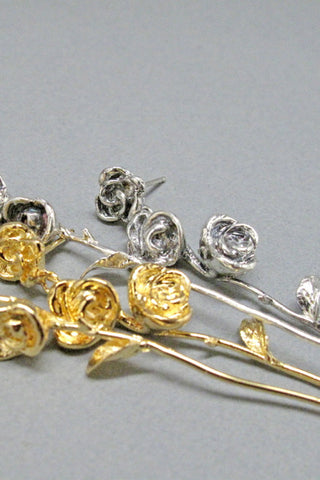 Harlequin&Lionhead handmade Long Stem Rose artisan earrings in sterling silver or gold plated